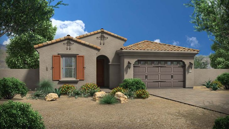 Exterior:Rendering | Elevation B - Spanish Colonial