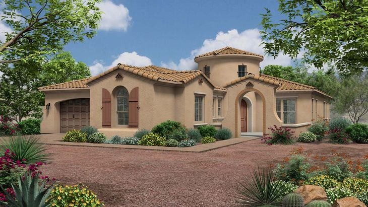 Exterior:Rendering | Elevation A - Spanish Colonial