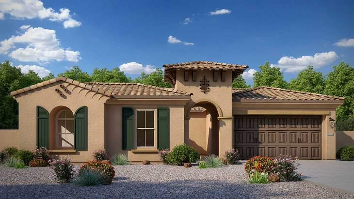 Exterior:Rendering | Elevation A - Spanish