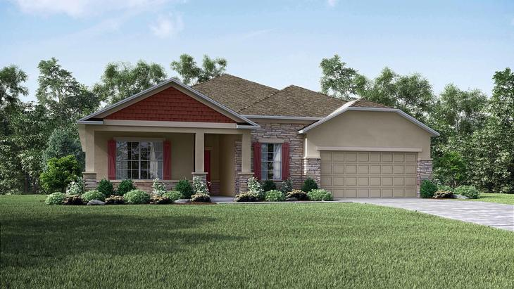 Exterior:Elevation: C Partial Stone Front with 2 Car Garage