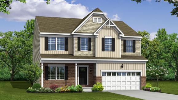 Exterior:Elevation: E Opt Carolina Partial Brick Front, Full Porch, & Garage Door