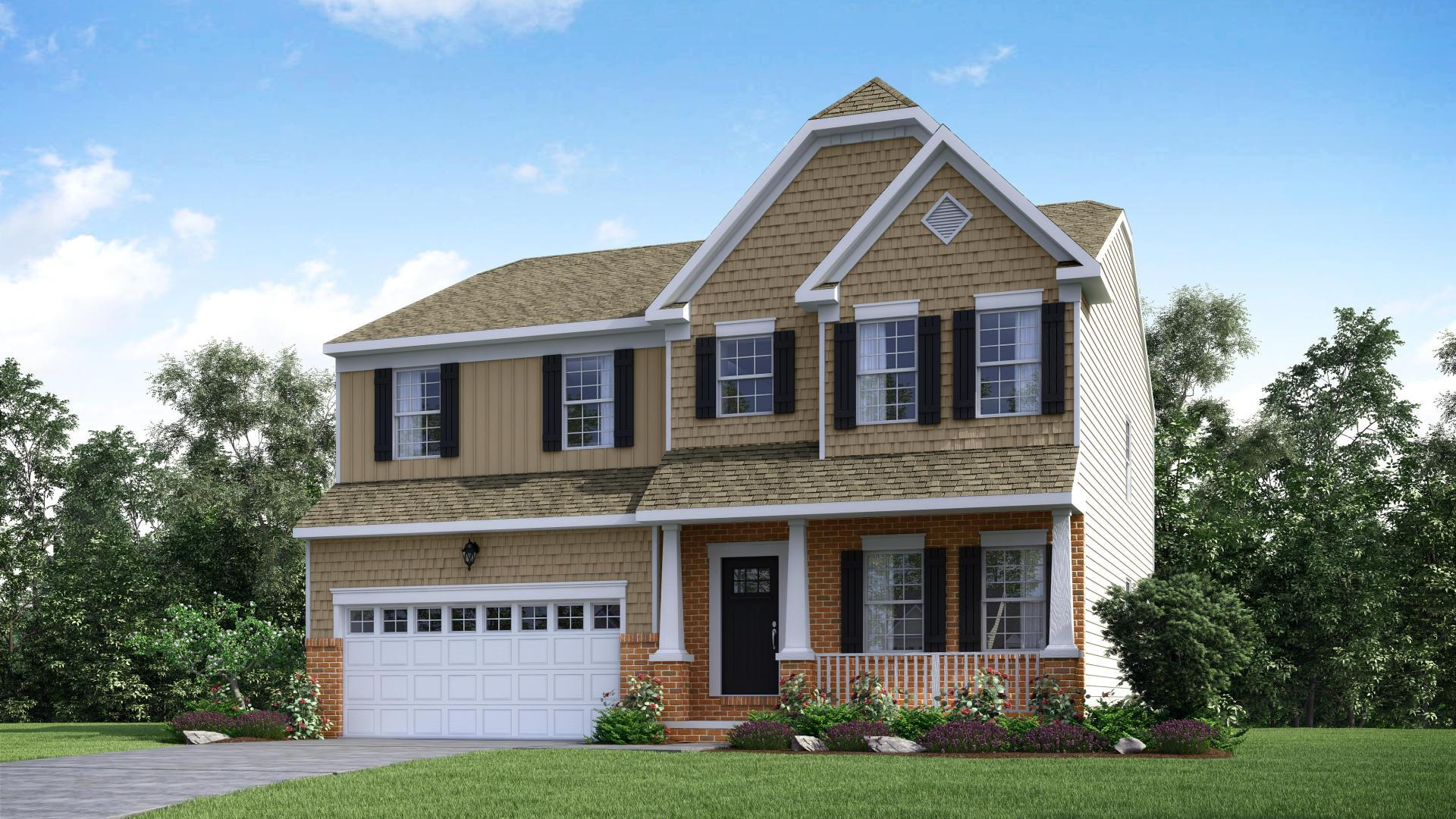 Exterior:Elevation: E Opt Carolina Inspired Facade, Porch, & Garage Door
