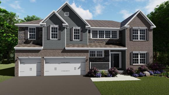 Exterior:Elevation: K Opt. Brick and Stone Front