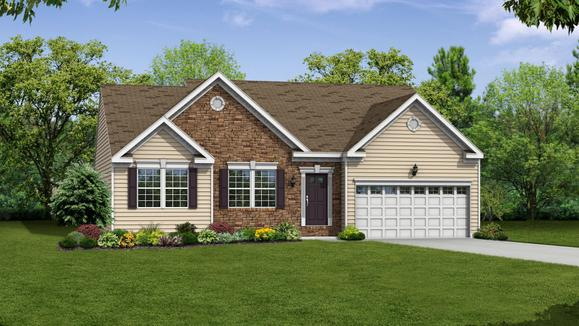 Exterior:Elevation: E Opt Partial Stone Front and Garage Door