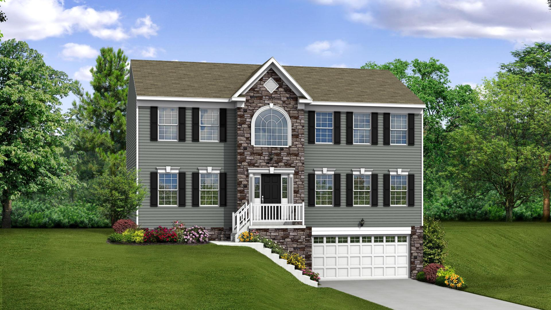 Exterior:Elevation: A Opt Partial Stone Front & Garage Door