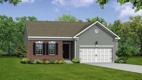Exterior:Elevation: T Opt Partial Brick Front and Garage Door