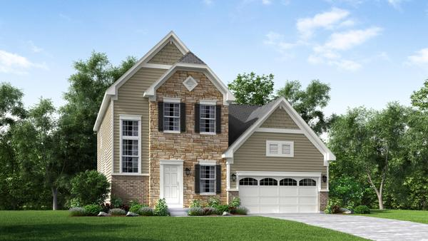 Exterior:Elevation: A Opt Brick Watertable Front with Stone Accent & Garage Door