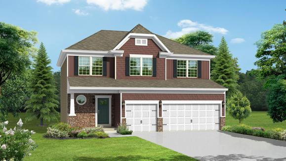 Exterior:Elevation: A Opt New England Stone Front, 3-Car Garage & Doors