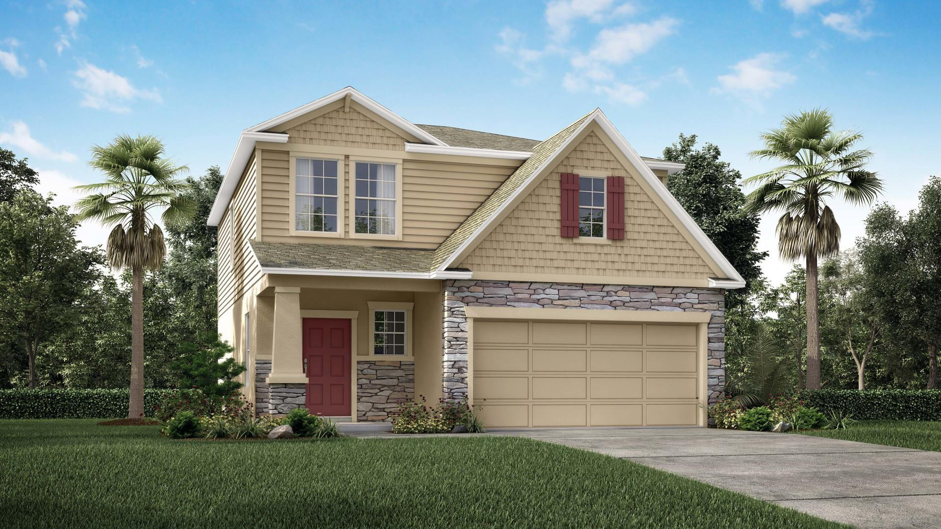 Exterior:Elevation: G Partial Stone Front with Covered Porch and 2 Car Garage