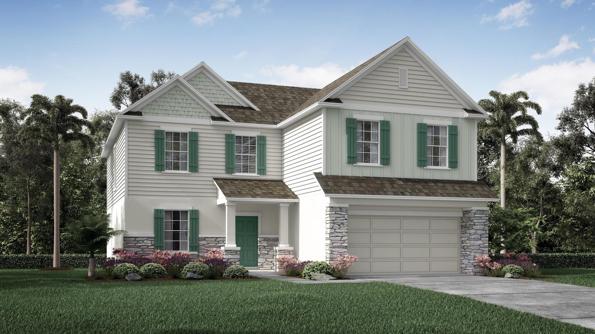 Exterior:Elevation: A Opt. Stone Front
