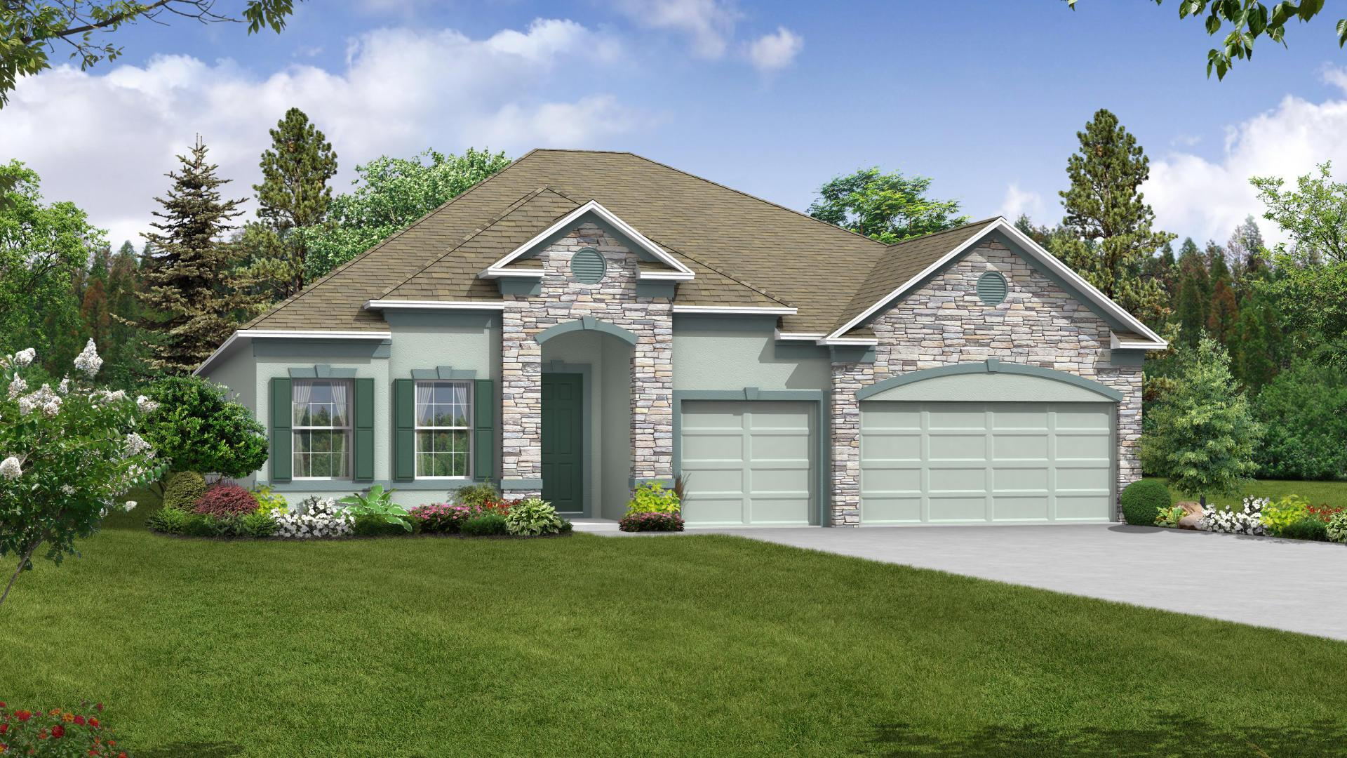Exterior:Elevation: A Opt Stone Accent