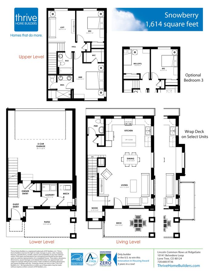 Snowberry home plan by thrive home builders in rows at for Thrive homes denver