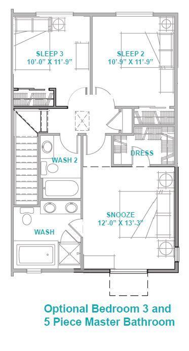 Optional Bedroom 3 and 5 Piece Master Bathroom