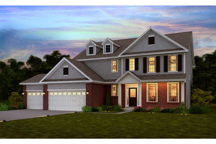 Classic Colonial elevation with 3 car garage.