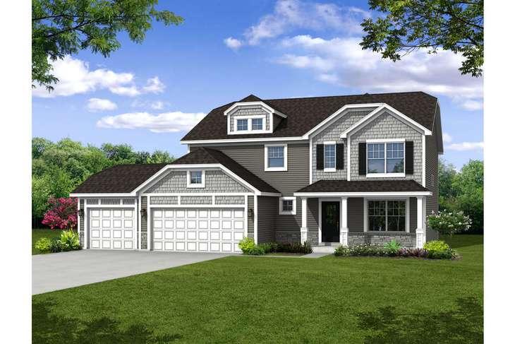 A21785  - Elevation:A21785  Olthof  Homes 2444  D 3 car knee wall masonry