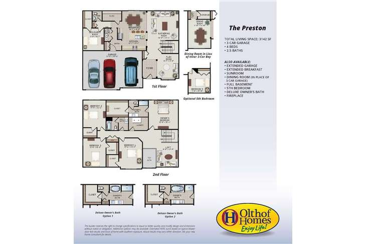 Preston:Olthof Homes presents the Preston.  Open the front door of a home appointed with 3,142 square feet o