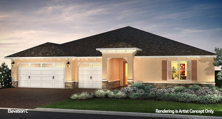 Glasgow Elevation:Innovative Model home at On Top of the World Communities in Ocala, Florida.