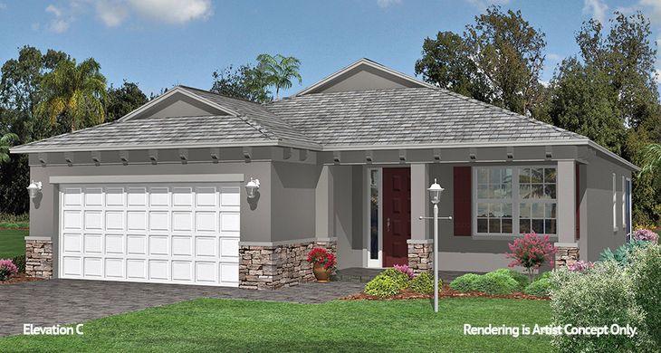 Aster elevation:Energy Efficient Floor plan at 55+ Active Adult Community, Ocala Florida