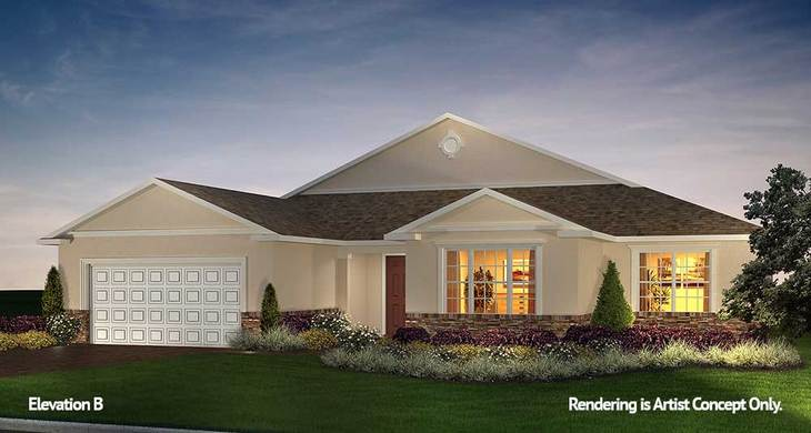 Willem Elevation:Energy Efficient Model home at 55+ Retirement Community in Florida - On Top of the World