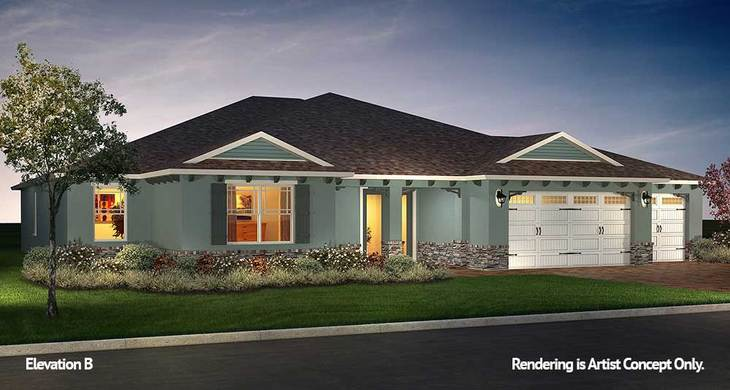 Wellington Elevation:Energy Efficient Model home at On Top of the World Communities in Ocala, FL.