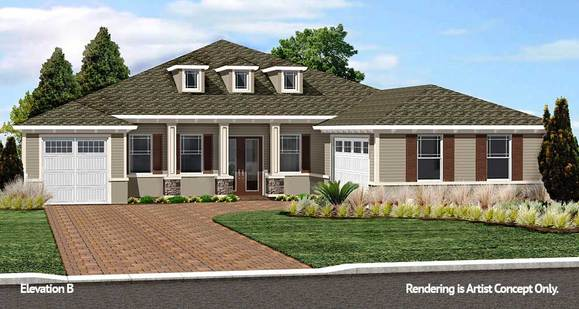 Aberdeen Elevation:Innovative Model home at On Top of the World Gated Retirement Community in Ocala, Florida