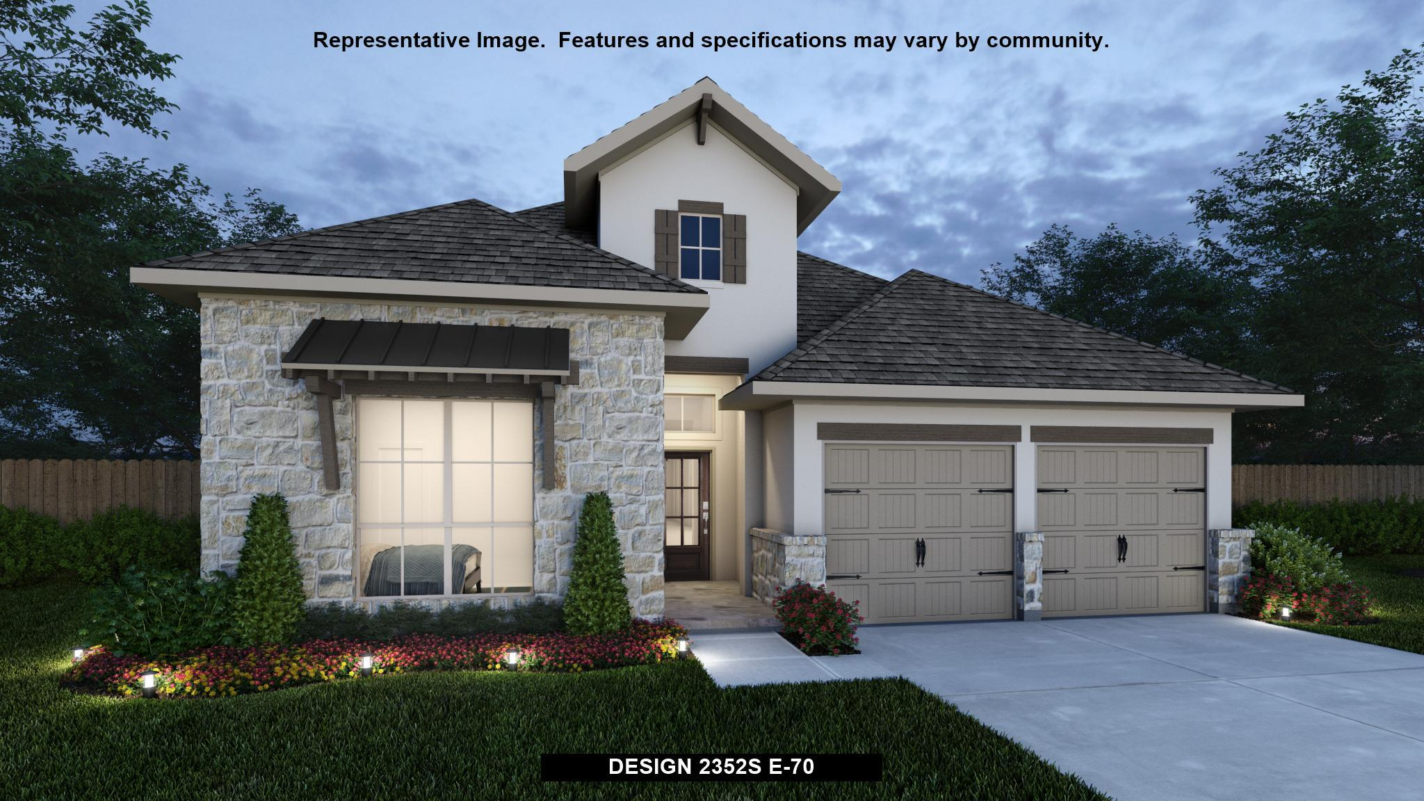 Exterior featured in the 2352S By Perry Homes in Austin, TX