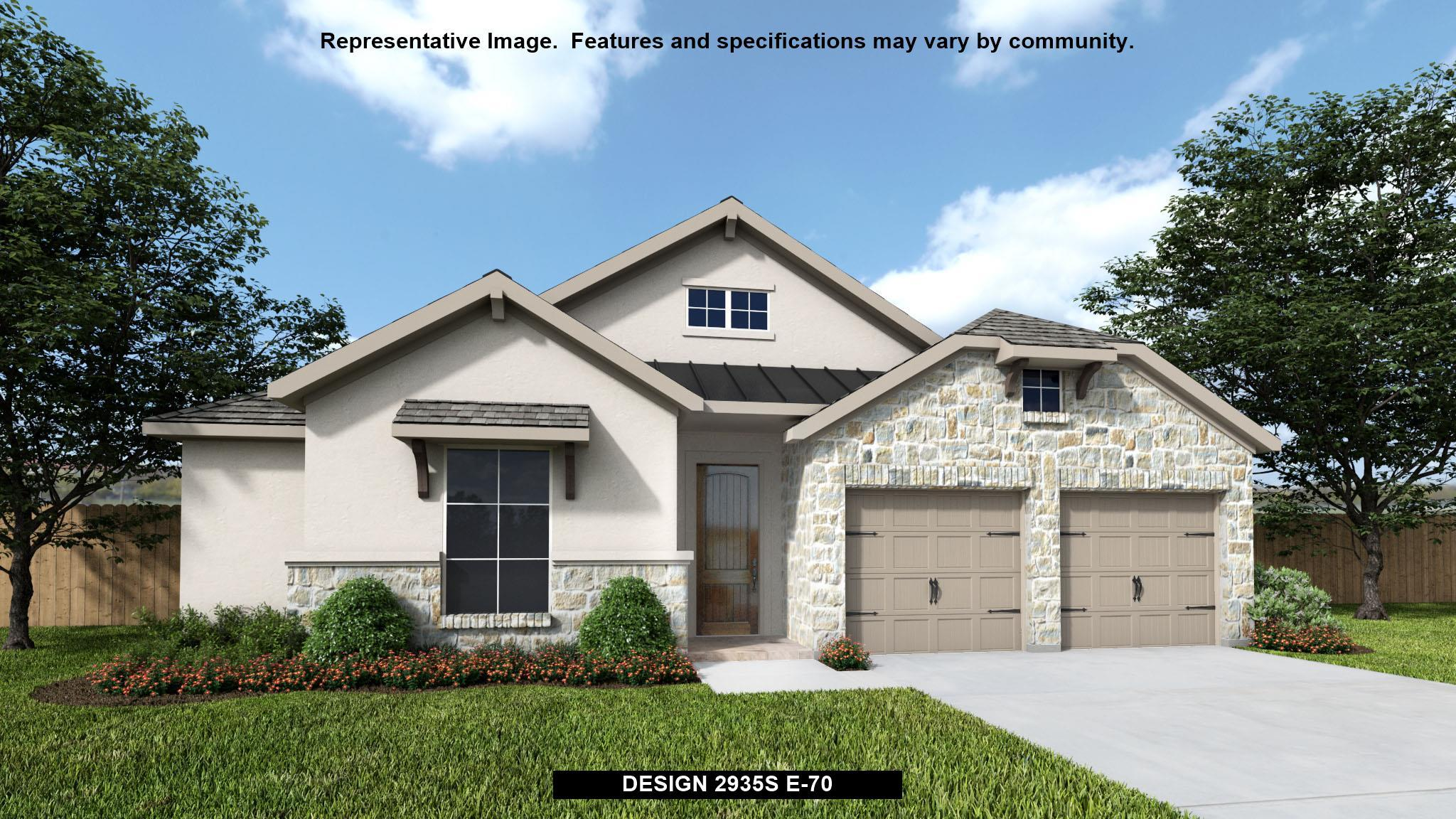 Exterior featured in the 2935S By Perry Homes in San Antonio, TX