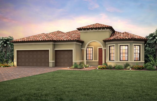 Exterior:Exterior FM2A with bay window and 2-car garage plus golf cart storage