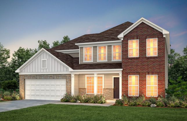Wingate:Wingate Exterior 7 features brick, stone, siding and covered front porch
