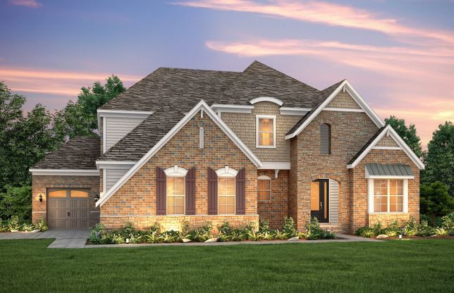 Exterior:Brunswick Exterior 8 features brick, stone accents and covered front door