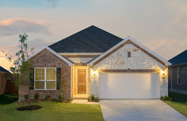 Mckinney:Exterior D with stone and brick, wood shutters, and 2-car garage