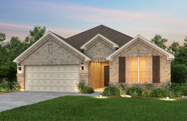 Exterior:The Mckinney, a one-story home with 2-car garage, shown with Home Exterior A