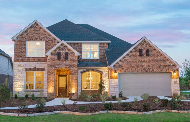Lawson:Exterior D model home with stone accents and covered front porch