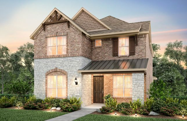 Westview:The Westview, with covered front patio and 2-car rear-entry garage, shown as Exterior D