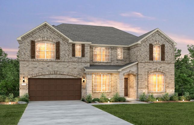 Mansfield:The Mansfield, a two-story home with 2-car garage, shown with Home Exterior C