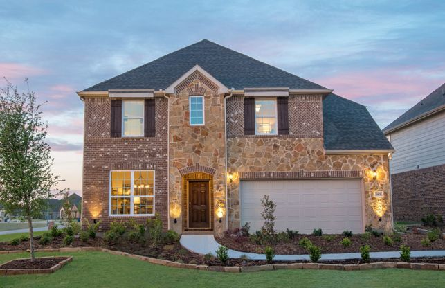Lexington:The Lexington, a two-story home with 2-car garage, shown as Home Exterior D