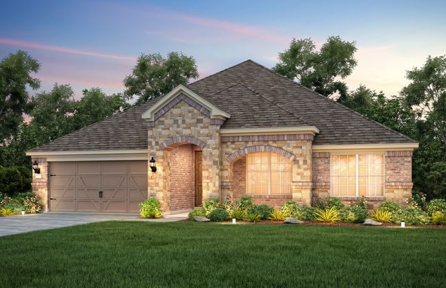 Exterior:The Dunlay, a one-story home with 2-car garage, shown with Home Exterior C