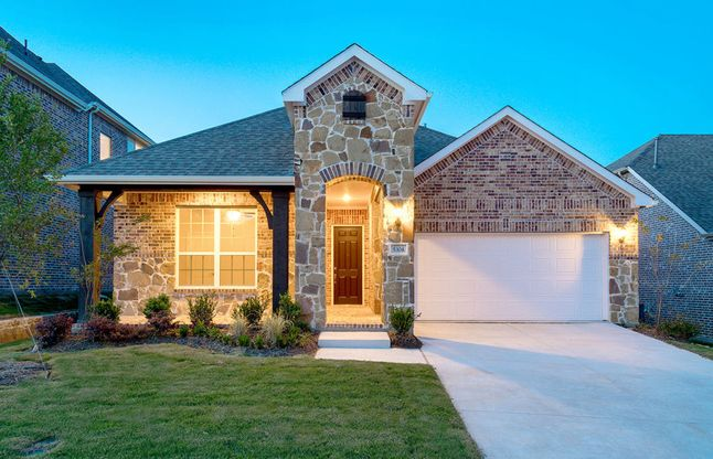 Arlington:The Arlington, a one-story new construction home with covered front porch and 2-car garage, shown wi