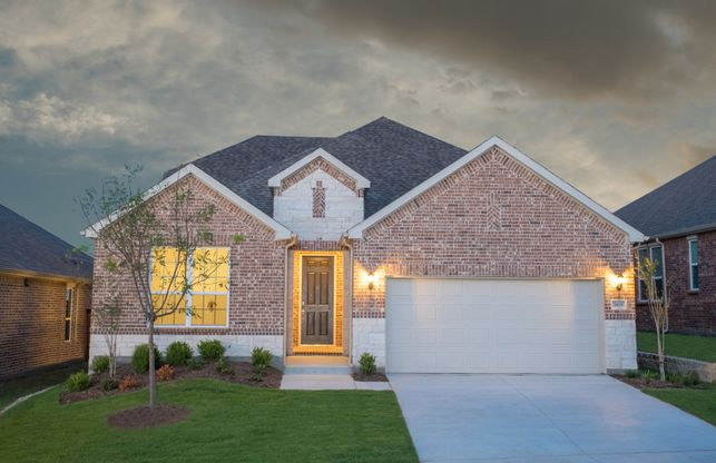 Mooreville:The Mooreville, a two-story new construction home with 2-car garage, shown with Home Exterior B