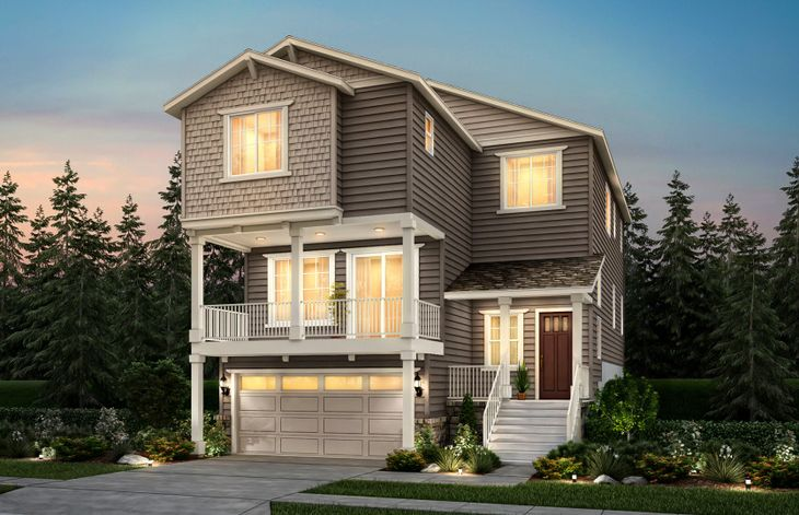 Exterior:Carillon, a three-story single family home with a two-car garage shown in Home Exterior A.