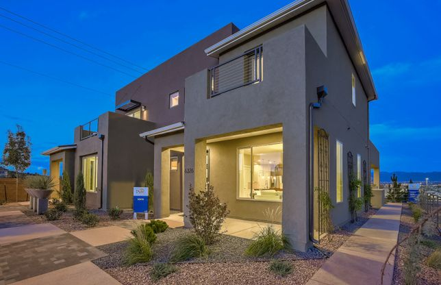 Exterior:Tour the Senita model home at La Orilla offering brand new townhomes for sale in Albuquerque.