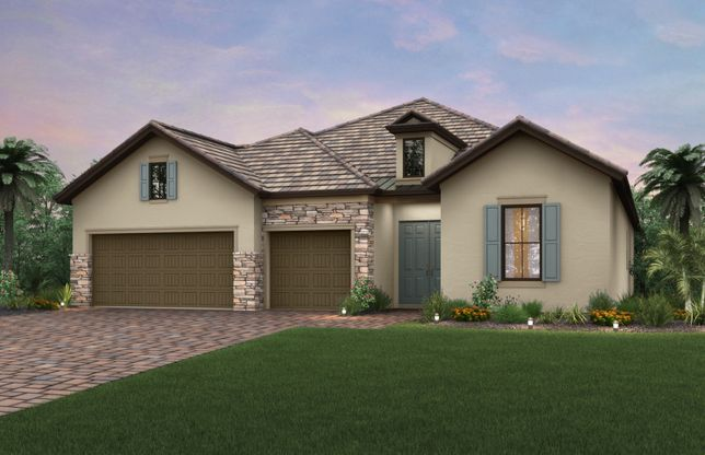 Exterior:Exterior LC2A with stone detail and 3-car garage