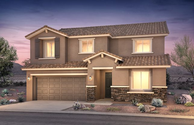 Fano:The Fano home design exterior features accents throughout like accent colors, stone veneer and shutt