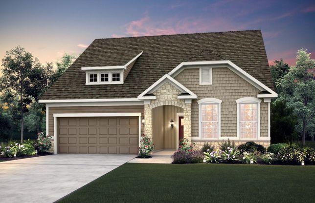 Exterior:Home Design HR2I | Elevation includes brick wainscot. See sales for details.