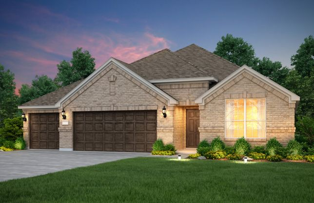Sheldon:The Sheldon, a 1-story home with shutters and 3-car garage, shown with Home Exterior A