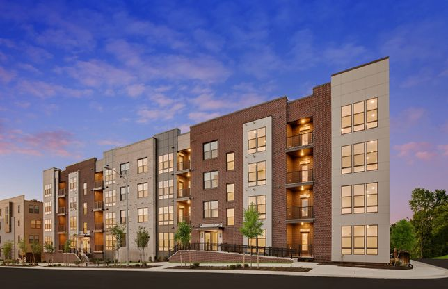 Exterior:Exterior View of the Lofts at Reston Station, 1-Level Condos in Elevator Building