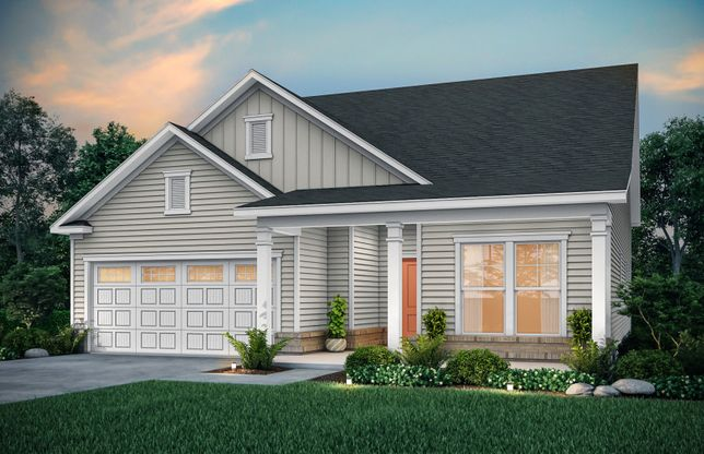 Bedrock:Bedrock Exterior LC3G features siding, brick accents and covered front porch