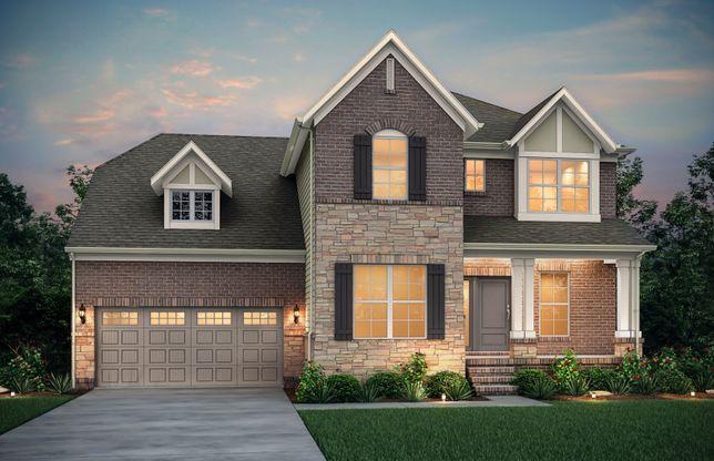 Northridge:Northridge Exterior EC2S features brick, stone and covered front porch.