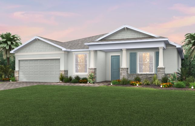 Palm:The Palm, a single-story home with a 2 car garage, shown with Home Exterior C2A