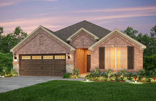 Exterior:The Mckinney, a one-story home with 2-car garage, shown with Home Exterior B